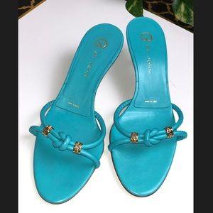 St. John Kitten Heel Sandals w/ Gold Accents✨